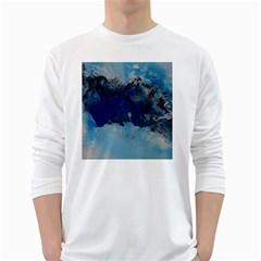 Blue Abstract No.5 White Long Sleeve T-Shirts