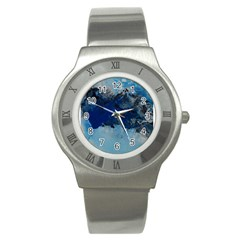 Blue Abstract No 5 Stainless Steel Watches
