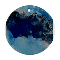 Blue Abstract No 5 Round Ornament (two Sides)