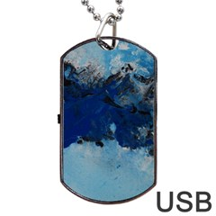 Blue Abstract No.5 Dog Tag USB Flash (One Side)