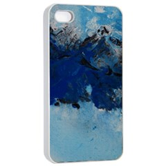 Blue Abstract No.5 Apple iPhone 4/4s Seamless Case (White)