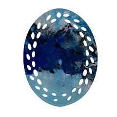 Blue Abstract No 5 Oval Filigree Ornament (2 Side)