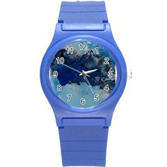 Blue Abstract No 5 Round Plastic Sport Watch (s)