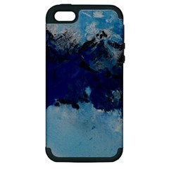 Blue Abstract No 5 Apple Iphone 5 Hardshell Case (pc+silicone)