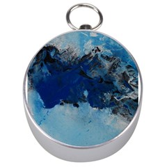 Blue Abstract No 5 Silver Compasses