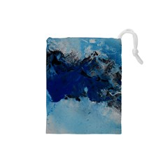 Blue Abstract No 5 Drawstring Pouches (small)