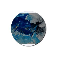 Blue Abstract No  6 Rubber Coaster (round)