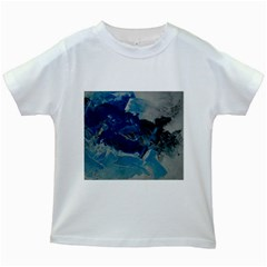 Blue Abstract No. 6 Kids White T-Shirts