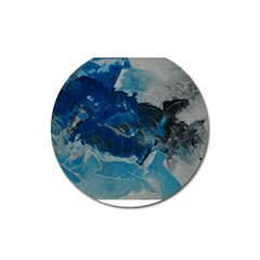Blue Abstract No  6 Magnet 3  (round)