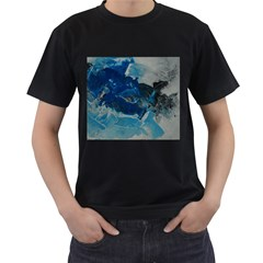Blue Abstract No. 6 Men s T-Shirt (Black) (Two Sided)