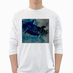 Blue Abstract No  6 White Long Sleeve T Shirts