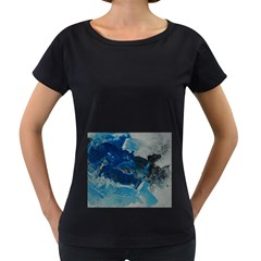 Blue Abstract No. 6 Women s Loose-Fit T-Shirt (Black)