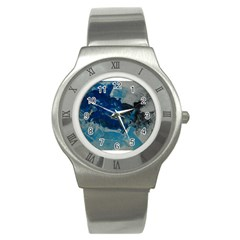 Blue Abstract No  6 Stainless Steel Watches
