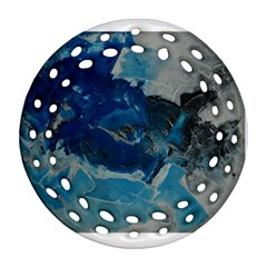 Blue Abstract No  6 Round Filigree Ornament (2side)