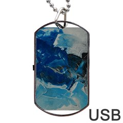 Blue Abstract No  6 Dog Tag Usb Flash (two Sides)
