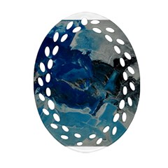 Blue Abstract No. 6 Oval Filigree Ornament (2-Side)