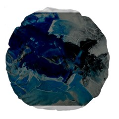 Blue Abstract No  6 Large 18  Premium Flano Round Cushions