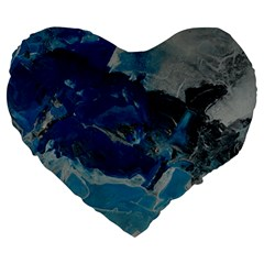 Blue Abstract No. 6 Large 19  Premium Flano Heart Shape Cushions