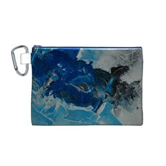 Blue Abstract No  6 Canvas Cosmetic Bag (m)
