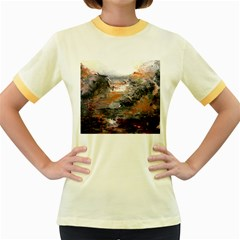 Natural Abstract Landscape Women s Fitted Ringer T-Shirts