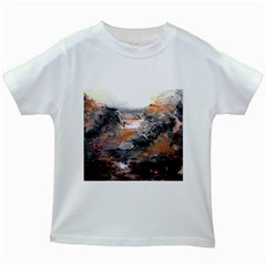 Natural Abstract Landscape Kids White T-Shirts