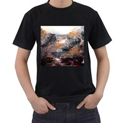 Natural Abstract Landscape Men s T-Shirt (Black) (Two Sided)