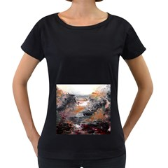 Natural Abstract Landscape Women s Loose-Fit T-Shirt (Black)
