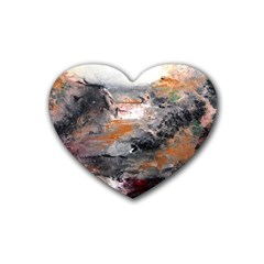 Natural Abstract Landscape Rubber Coaster (heart)