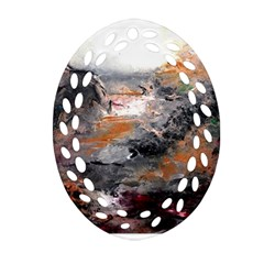 Natural Abstract Landscape Oval Filigree Ornament (2 Side)