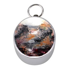 Natural Abstract Landscape Mini Silver Compasses