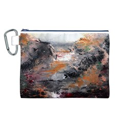 Natural Abstract Landscape Canvas Cosmetic Bag (L)