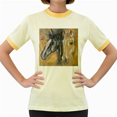 2 Horses Women s Fitted Ringer T-Shirts
