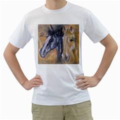 2 Horses Men s T-Shirt (White) (Two Sided)