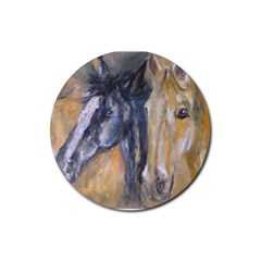 2 Horses Rubber Round Coaster (4 Pack)