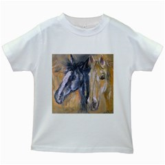 2 Horses Kids White T-Shirts