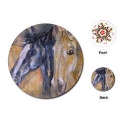 2 Horses Playing Cards (round)