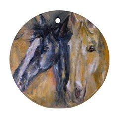 2 Horses Round Ornament (two Sides)