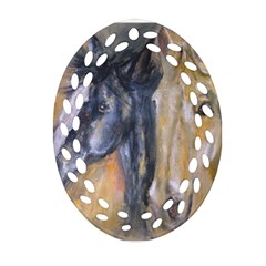 2 Horses Ornament (oval Filigree)