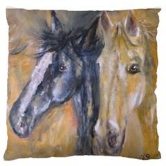 2 Horses Large Flano Cushion Cases (one Side)