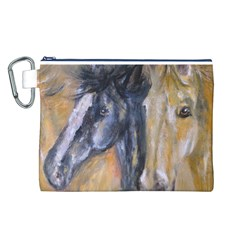 2 Horses Canvas Cosmetic Bag (L)