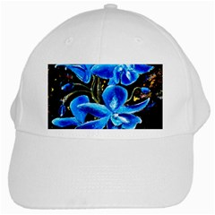 Bright Blue Abstract Flowers White Cap