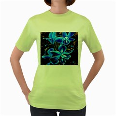 Bright Blue Abstract Flowers Women s Green T-Shirt