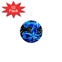Bright Blue Abstract Flowers 1  Mini Magnet (10 Pack)