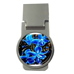 Bright Blue Abstract Flowers Money Clips (round)