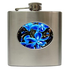 Bright Blue Abstract Flowers Hip Flask (6 Oz)