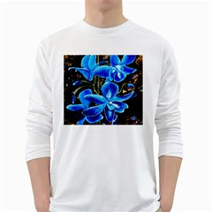Bright Blue Abstract Flowers White Long Sleeve T-Shirts
