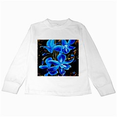 Bright Blue Abstract Flowers Kids Long Sleeve T-Shirts