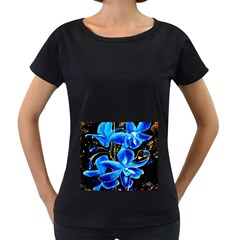 Bright Blue Abstract Flowers Women s Loose Fit T Shirt (black)