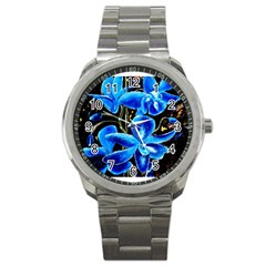 Bright Blue Abstract Flowers Sport Metal Watches