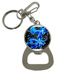 Bright Blue Abstract Flowers Bottle Opener Key Chains